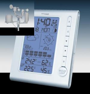 IROX YTORA TPW899 profesionální meteorologická stanice bílá, hodiny/předpověď/teplota/tlak/vlhkost/měření větru+srážek/fáze měsíce/kalendář, bezdrátový senzor