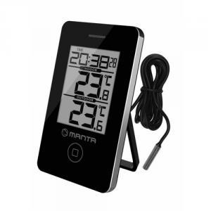 MANTA CLK010 Meteostanice a digitální hodiny s vnitřní a venkovní teplotou, 2xAAA